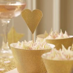 12 décorations de gâteaux coeurs paillettes - or