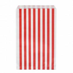 Pochettes papier - rayé rouge (par 10)