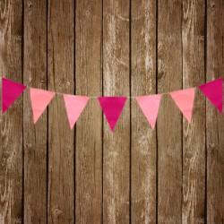 Guirlande de fanions papier de soie - rose