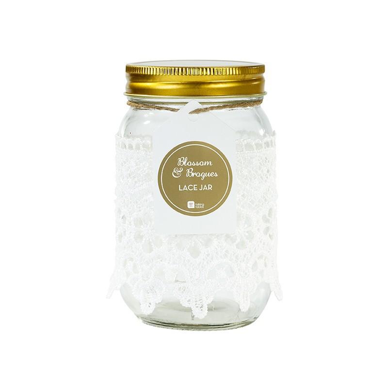 bocal mason jar avec dentelle modern confetti. Black Bedroom Furniture Sets. Home Design Ideas