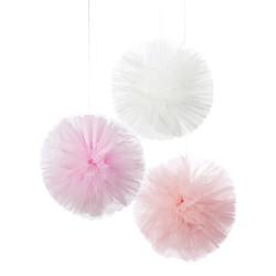 Pompons tulle rose (par 3)