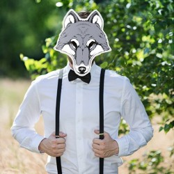 Masque photobooth animal loup