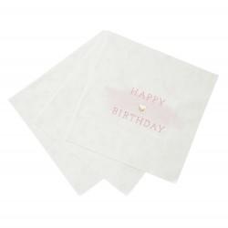 Serviettes en papier roses et dorées