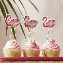 Cake topper flamant rose (par 8)