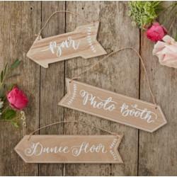 Flèches signalétiques mariage et fête (par 3)