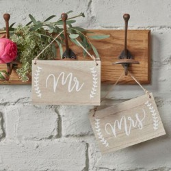 Pancartes en bois Mr & Mrs