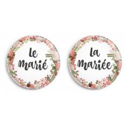 Badges mariage bohème - les mariés (par 2)