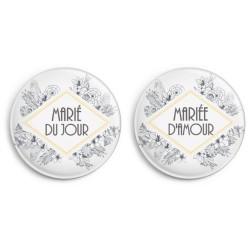 Badges rétro pour les mariés (par 2)