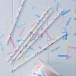 Pailles confettis multicolores (par 25)