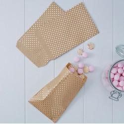 Pochettes cadeaux et bonbons kraft et doré (par 20)