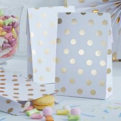 Pochette blanc et doré (par 8)