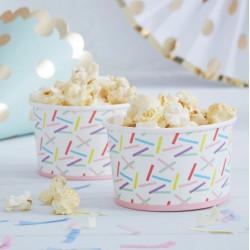 Petits pots avec confettis multicolores (par 8)
