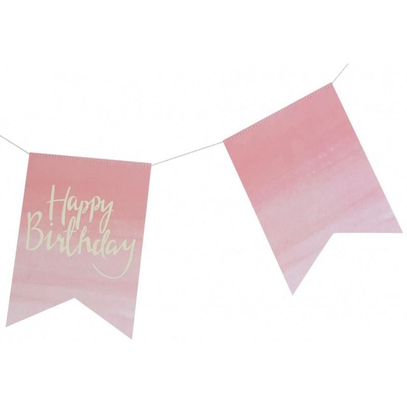 guirlande fanion happy birthday rose modern confetti. Black Bedroom Furniture Sets. Home Design Ideas