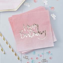 Serviettes aquarelle happy birthday (par 20)