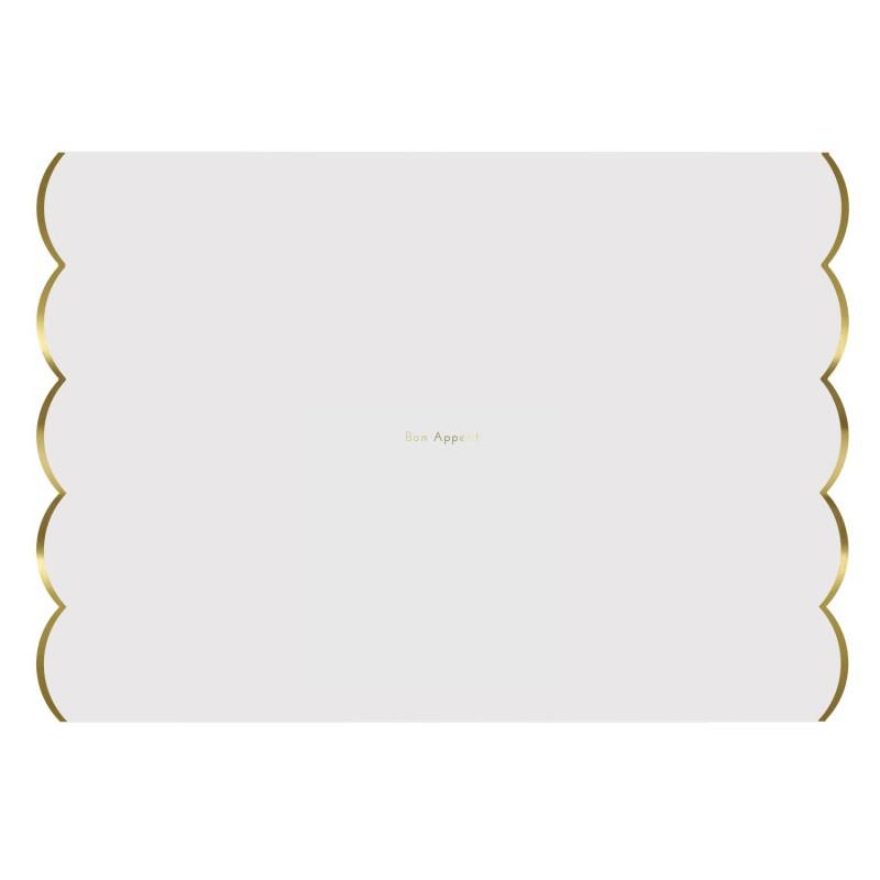 Sets de table blanc et or par 24 modern confetti for Set de table blanc