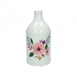 Petite bouteille céramique motif floral