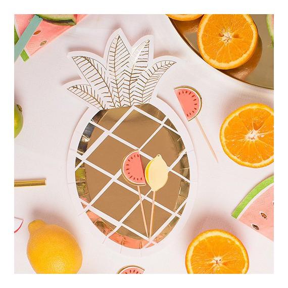 Assiettes Ananas Dor Par 8 Modern Confetti