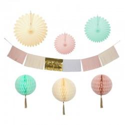 Kit de décoration papier - pastel et or (7 pièces)