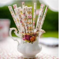 Pailles retro fleuries (par 24)