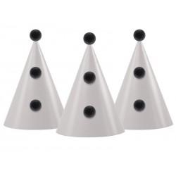 Chapeaux de fête noirs et blancs (par 3)