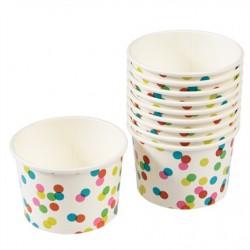 Petits pots à glace motif confetti (par 10)