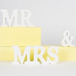 Mr & Mrs en bois - blanc crème