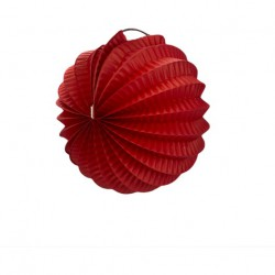 mini lampion rond accordéon - rouge (20 cm)