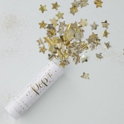 Mini canon à confettis étoiles or