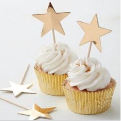 Décorations de gâteau étoiles - or