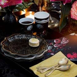 Assiettes carton style baroque noir et or