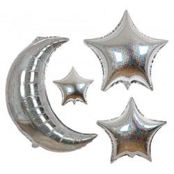 Ballons étoiles et lune (6 ballons)