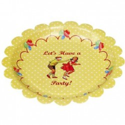 Petites assiettes vintage Let's Party (par 8)