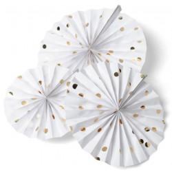 Rosace rigide blanche pois dorés (lot de 3)
