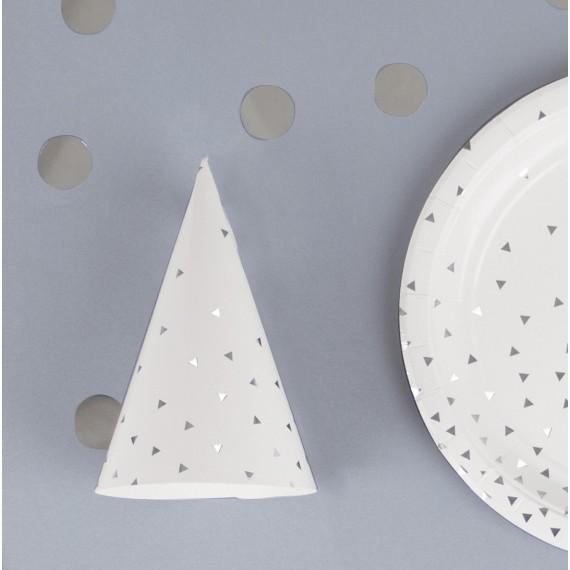 Chapeaux pointus triangles - argent métallisé (par 8)