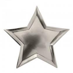 Assiettes étoile argent (par 8)