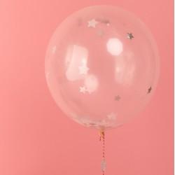 Ballons confetti étoiles argent (par 8)
