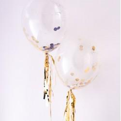 Ballon transparent et confettis or et argent (par 8)