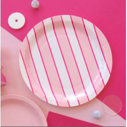 Assiettes design rose (par 12)