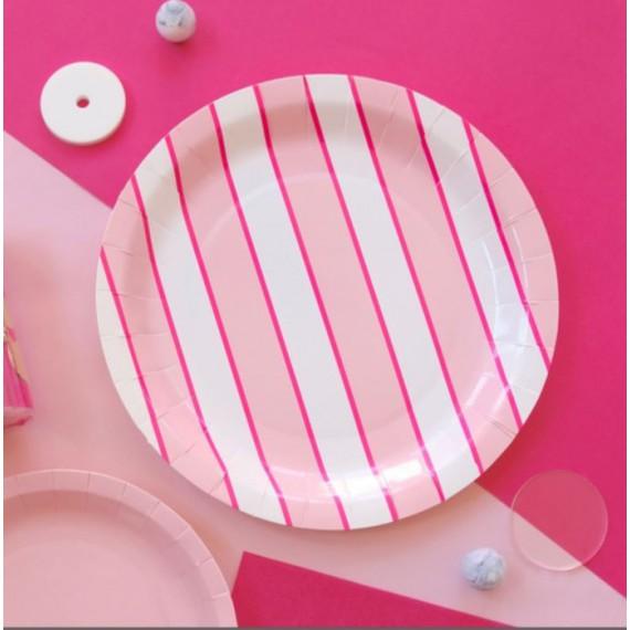 Assiettes design rose (par 12)