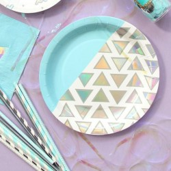 Assiettes design bleu (par 12)