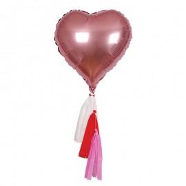 ballons cœurs mylar rose (par 6)
