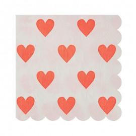 Petites serviettes coeur (par 20)