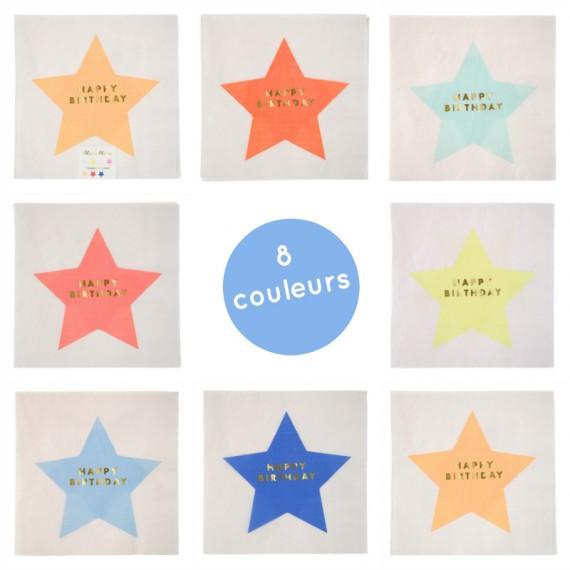 serviettes anniversaire étoiles multicolores