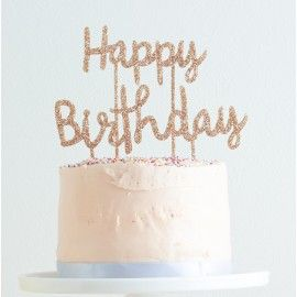 cake topper happy birthday doré paillettes