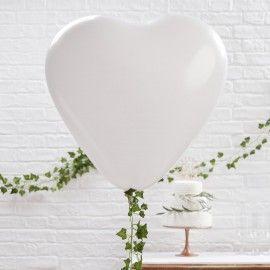 ballon geant coeur blanc (par 3)