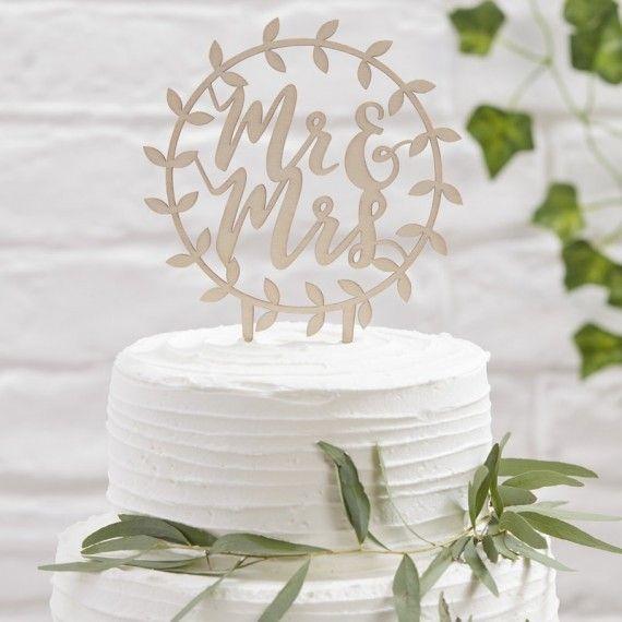 Cake topper en bois Mr et Mrs