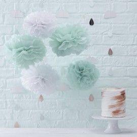 Pompons blanc et menthe