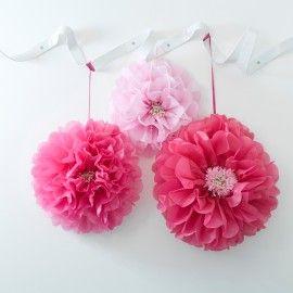Pompons fleurs roses