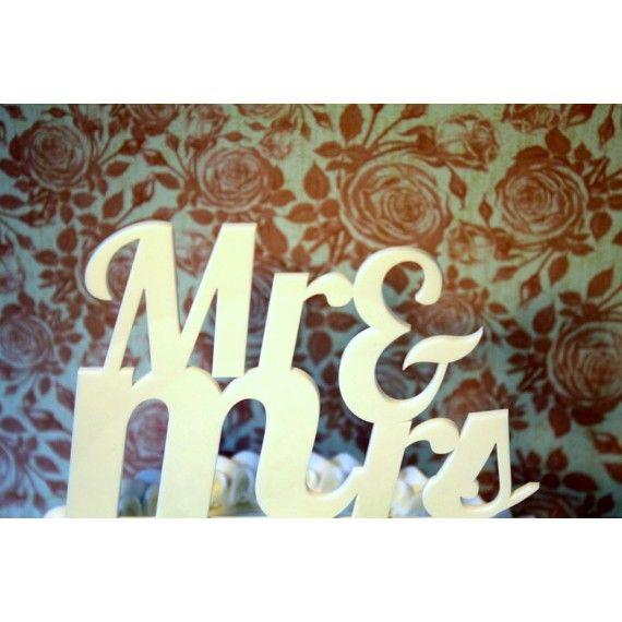 "Cake topper mariage ""Mr & Mrs"" - blanc"