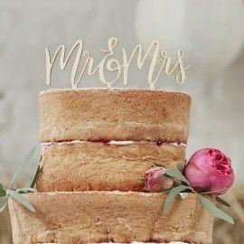 Cake topper mariage Mr et Mrs en bois